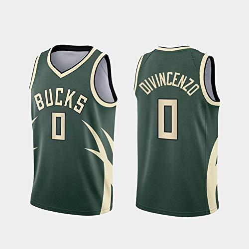 GLACX Camiseta de Baloncesto para Hombre, Milwaukee Bucks 0# Divincenzo, Chaleco de Fitness Resistente al Desgaste de Malla Transpirable,