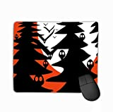 Mouse Pad Horror Night Owls Trees Colored Rectangle Rubber Mousepad