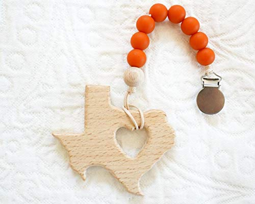 Review Of Elysia Store Burnt Orange Pacifier Clip and Texas Wood Teether - Universal Fit for All Pac...