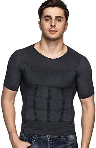 Odoland Men's Body Shaper Slimming Shirt Tummy Vest Thermal Compression Base Layer Slim Muscle Short Sleeve Shapewear, Grey L