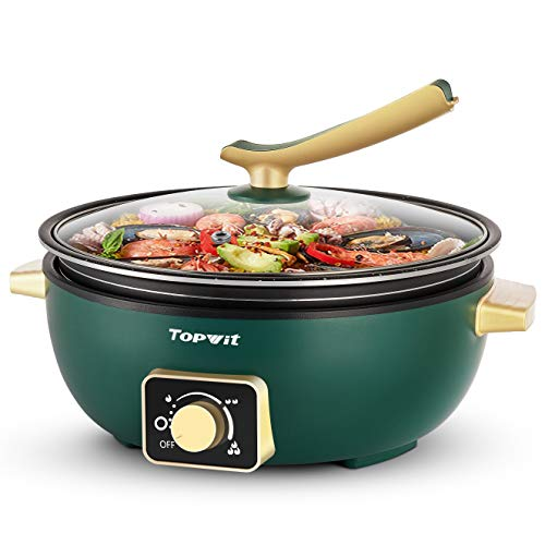 Topwit Electric Skillet with Adjustable Power Control, 4L Removable Nonstick Electric Frying Pan, 12-inch Deep Dish Multifunction Electric Hot Pot for Sauté, Indoor Electric Grill with Glass Lid