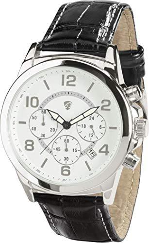 Golden Lutz® Herren Chronograph analog Quarz mit Leder-Armband (Silber weiß, schwarz) | Auriol