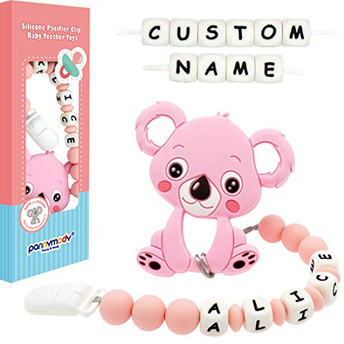 Panny & Mody Personalized Pacifier Clip with Name Baby Teething Toys, Custom Name Pacifier Holder BPA Free Silicone Beads Binky Holder for Baby Girls, Soothie, Mam, Shower Gift - Koala (Pink)