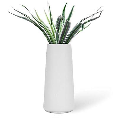"VanEnjoy 7"" Desktop Minimalist White Ceramic Vases Home Office Decoration Frosting Finish Vase"
