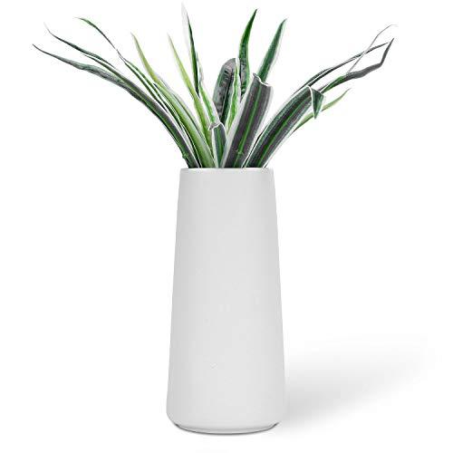 VanEnjoy 7' High Desktop Minimalist White Ceramic Vases Home Office Decoration Frosting Finish Vase