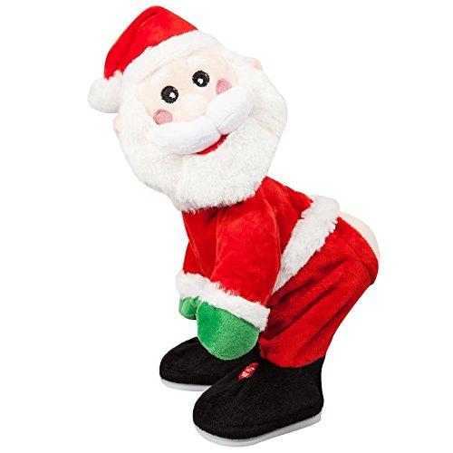 ootb Tanzender Plüsch-Weihnachtsmann mit Sound (inklusiv Batterien), Rot, 15 x 14 x 29.5 cm