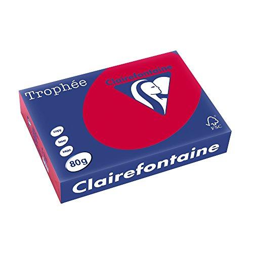 Clairefontaine 1782C Druckerpapier Trophée, für alle Laserdrucker, Kopierer und Tintenstrahldrucker, DIN A4 (21 x 29,7 cm), 80g, 1 Ries mit 500 Blatt, Erdbeer
