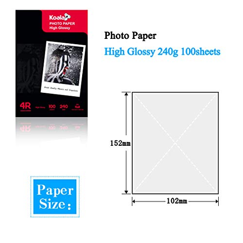 KOALA Papel fotográfico de Brillante, 10x15 cm, 100 hojas, 240 g/m², para impresora de inyección de tinta Canon HP Epson