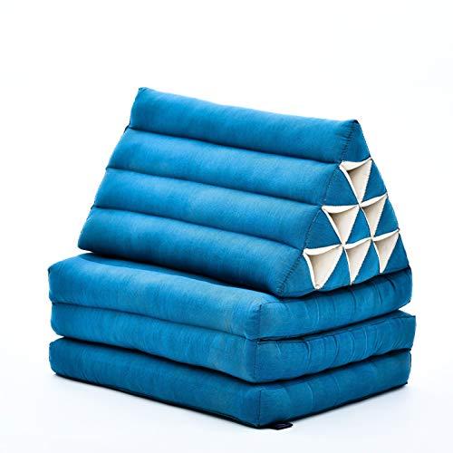 Leewadee colchón Plegable con Tres segmentos – Futón con cojín Hecho a Mano de kapok ecológico, colchoneta tailandesa, 170 x 53 cm, Azul Claro