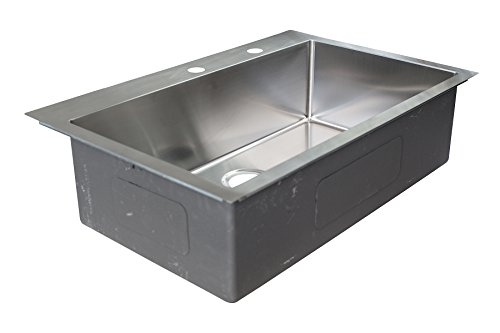 Franke HFS3322-2 Vector 33.5' (33' Compatible) Dual Mount Single Bowl Kitchen Sink with Two Holes and Fast-in Installation System, Stainless Steel