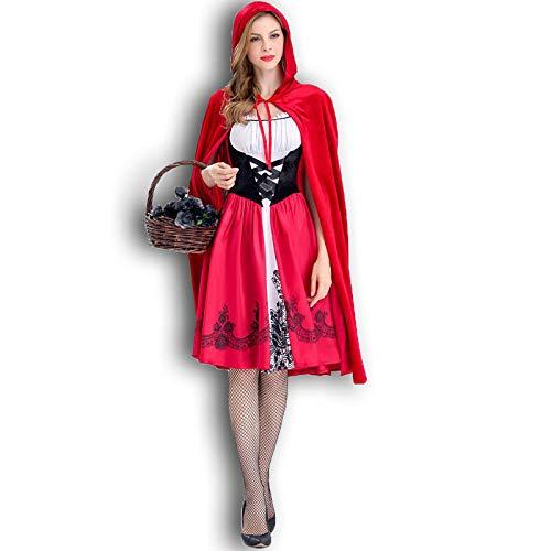 2REMISE Chica Linda De Halloween Traje De Caperucita Roja Europea Y Americana Vestido De Fiesta para Adultos Vestido De Fiesta Vestido De Chal De Caperucita Roja