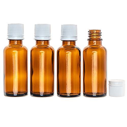 """10ml Braunglasflaschen, 24 Stück in Safety-Packs, mit Randtropfer in weiß, Pharmaqualität hergestellt gem. GMP ISO 13485, """"Ready to use"""" – sofort verwendbar ohne Spülen"""