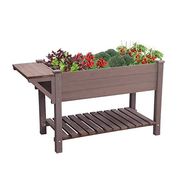 Raised Garden Bed for Herbs, Patio Elevated Flower Planter Vegetable Boxes with Grow Grid - Large Storage Shelf 5 ★ Upgrade with EXTRA side workstation and large bottom storage layer provides a spacious and convenient place to work & store. ★ Easy Growing Up To 8 different herbs/flowers/vegetable with grow grid. The dividers can be easy remove so it's one BIG OPEN PLANTER. ★ FREE INNER LINING are include to separate wood and soil. Spacious raised planter to ensure your plants and vegetables can breathe and grow healthy.