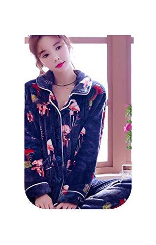 H5646 Damen-Schlafanzug, aus verdicktem Flanell, Winter-Nachthemd, Hauskleidung, plus Samt, Nachtwäsche Gr. 38, Styleo