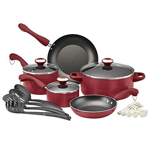 Paula Deen Signature Dishwasher Safe Nonstick Cookware Pots and Pans Set, 11 Piece, Blueberry