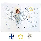 Large 40'x 60' Monthly Milestone Blanket with Bear and Star for Newborn Boy or Girl   Soft Premium Fleece Mat Unisex Baby Age Mat with Growth Chart Photo   Baby Boy and Girl Gifts