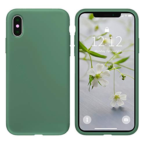 Case for iPhone X/iPhone Xs case Liquid Silicone Gel Rubber Phone Case, iPhone X/iPhone Xs 5.8 Inch Full Body Slim Soft Microfiber Lining Protective Case?Forest Green?