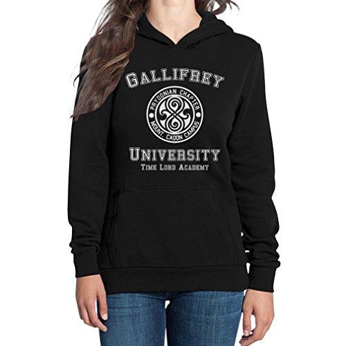 Preisvergleich Produktbild Shirtgeil Gallifrey University Damen Schwarz Medium Kapuzenpullover Hoodie - Doctor Time Academy Who