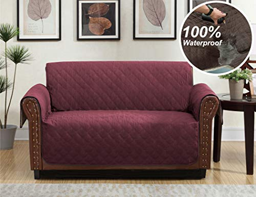 Home Queen Premium Waterproof Couch Slipcover, Non-Slip Sofa Protector with Pocket and Elastic Straps, Furniture Cover for Dogs, Kids, Pet, Loveseat Cover 76'' L x 88'' W, Brown