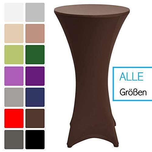 LILENO HOME statafelhoes bruin (Ø70-75 cm) - elegante hoezen voor statafels in alle maten - statafelhoezen met stretch ideaal voor feesten en feesten - tafelhoezen met versterkte voeten