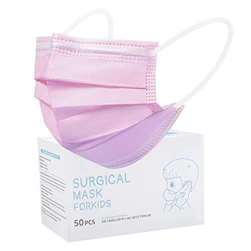 Rousig Kinder Mundschutz TYP IIR 3 Lagig Einwegmasken Kinder CE Zertifizierte 50 Stück Mund Nasen Maske Mädchen Kindermasken,Rosa