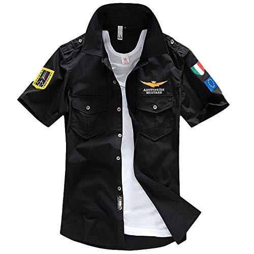 Camisa de Manga Corta para Hombre Camisa de Manga Corta de Talla Grande Militar Europea y Americana de Verano 4XL