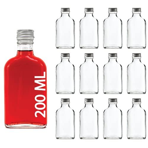 slkfactory - Botellas de Cristal vacías (12 Unidades, 200 ml, con tapón de Rosca, 0,2 L)