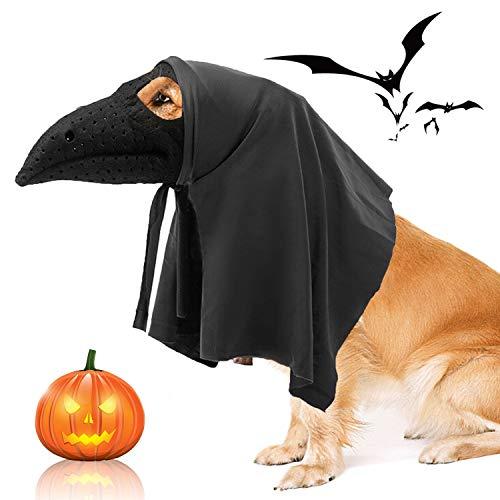 RYPET - Máscara para perros de Halloween con capa a juego, disfraz de doctor de peste de Halloween para perros medianos y grandes