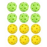 LIOOBO 12 Pcs Golf Balls Pickleble Ball Lightweight Plastic Hollow Holes Bright Color Golf Training Balls Golf Balls Toy Game Balls for Children Adults - (6 x Yellow + 6 x Green)