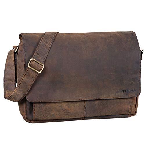 STILORD 'Lonzo' Vintage Umhängetasche echtes Büffel-Leder Messenger Bag für Herren und Damen Unitasche Büro Business Studium Leder, Farbe:Colorado - braun