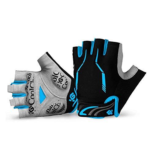 JOGVELO Fahrradhandschuhe Herren, Fahrradhandschuhe Halbfinger Gel Pad Atmungsaktiv für Herren Damen (Blau, XL)