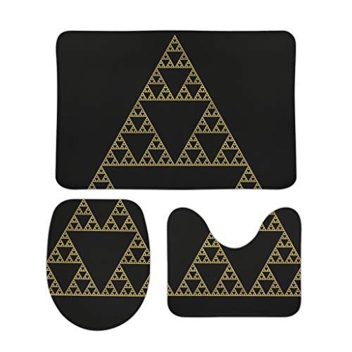 BBOOUAG Juego de 3 felpudos antideslizantes con patrón de triángulo, estilo nórdico, apto para baño, interior y exterior, ideal como regalo para cumpleaños a amigos, color blanco