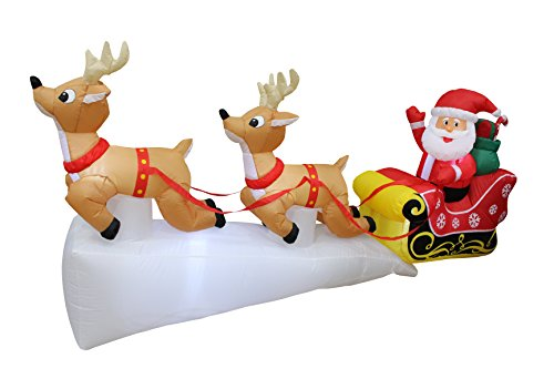 8 Foot Long Christmas Inflatable Santa Claus on Sleigh with Two Flying Reindeer & Gifts LED Lights Decor Outdoor Indoor Holiday Decorations, Blow up Lighted Yard Decor, Lawn Inflatables Home Family