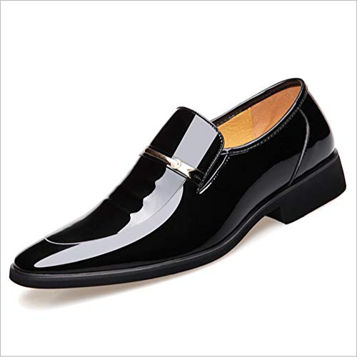 TAZAN Herrenspitze Schuhe Business Lackleder glänzend flach Leder Brautkleid Schuhe schwarz braun,Black,43