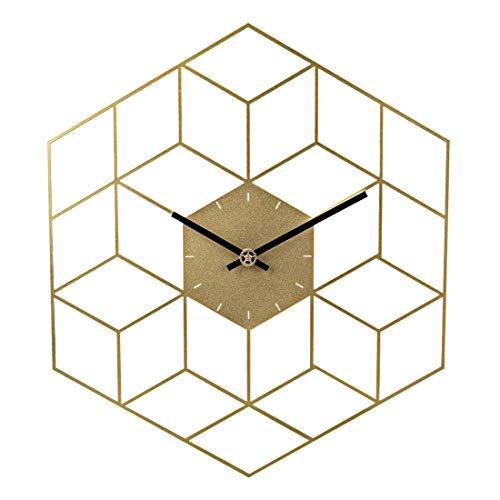 Sunbary Wanduhr Vintage,Metall Wanduhr Ohne Tickgeräusche Uhr Lautlos Dekorative für Küche Wohnzimmer Schlafzimmer - 35 x 40cm (Golden)