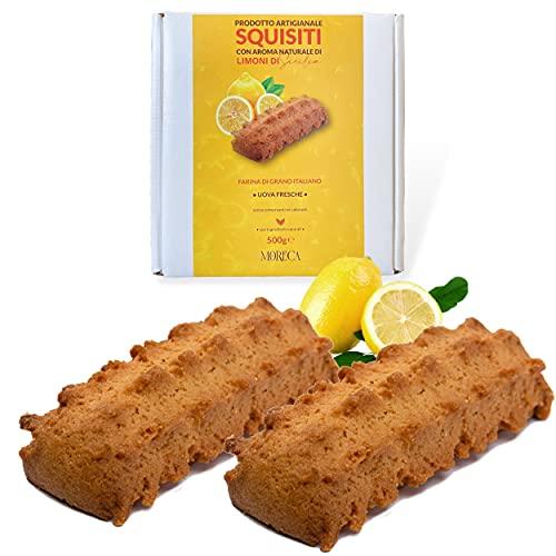 Exquisit mit natürlichem Aroma von sizilianischen Zitronen   500gr Kekse in einer eleganten Box   Handwerkliche Produktion mit italienischem Weizenmehl und frischen Eiern   Sizilianische Süßigkeiten