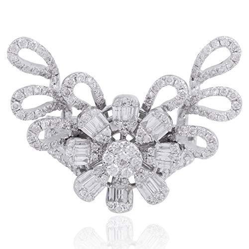 Spectrum Jewels 2.20 cóctel Tcw Hola / Si Baguette Flor anillo de diamante sólido de 18 quilates nueva joyería para Mujer (US Ring size 7)