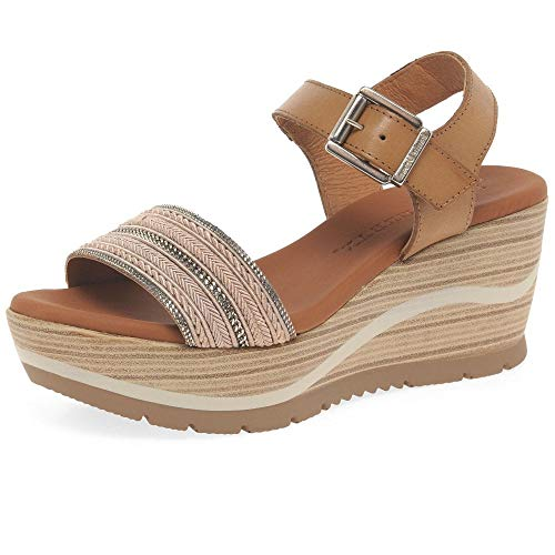 Paula Urban Waves Womens Wedge Heel Sandals 5/38 Nude Braid/Tostado