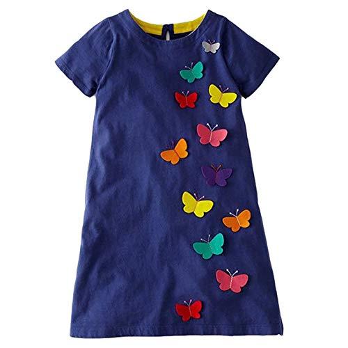 VIKITA Mädchen Blumen Langarm Baumwolle Kleid EINWEG JM6808 5T