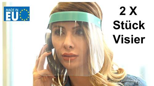 Fredo 2X Gesichtsschutz, Visier aus Kunststoff - Face Shield - transparentes Gesichts Schutzschild mit verstellbarem Gummiband für Männer Frauen, Made in Europe