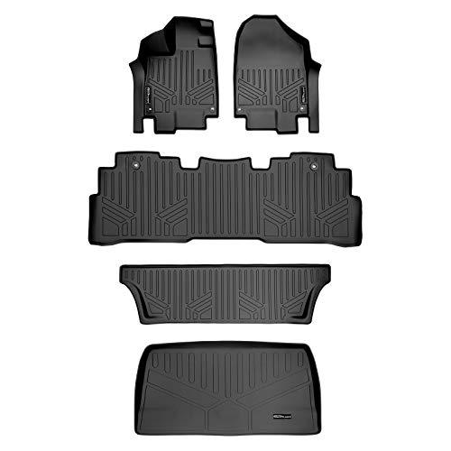 MAXLINER Floor Mats 3 Rows and Cargo Liner Behind 3rd Row Set Black for 2018-2021 Honda Odyssey
