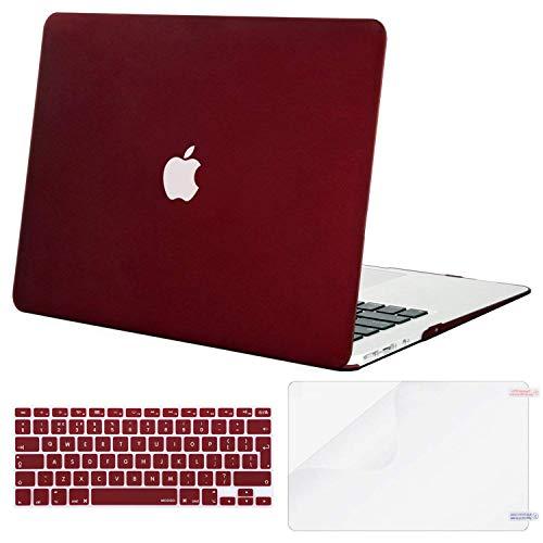 MOSISO Hülle Kompatibel mit MacBook Air 13 Zoll (A1369 / A1466, 2010-2017 Version), Ultradünne Plastik Hartschale Hülle mit Passender Farbe Tastaturschutz (EU-Layout) mit Displayschutz, Marsala Rot