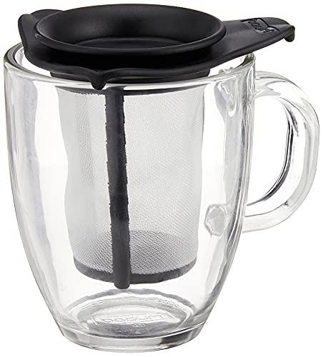 Bodum K11239-01 YO-YO Glass Mug with Tea Strainer (0.35 L/12 oz) - Bl