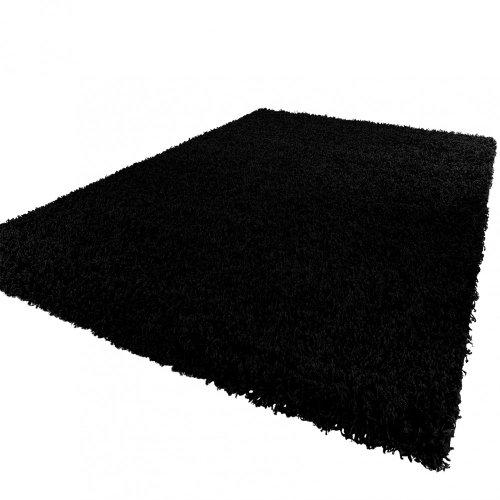 Paco Home Shaggy Hochflor Langflor Teppich Sky Einfarbig in Schwarz, Grösse:150 cm Quadrat