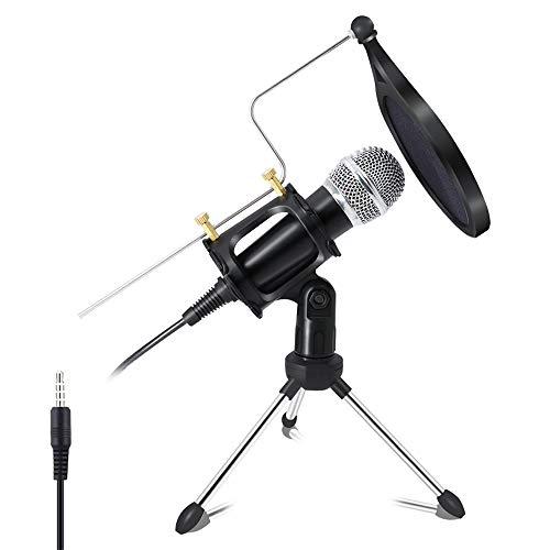 Equipo Micrófono Condensador, Micrófono con Cable De 1,8 M Móvil con Trípode, De 3,5 Mm Jack Plug and Play Capacitiva Micrófono para Reuniones, El Chat