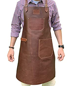 Andean Leather Apron - Grill Apron Bbq Apron Woodworking Apron Barber Apron Welding Apron Cross-Back Straps Adjustable M to 2XL for Men and Women  Brown