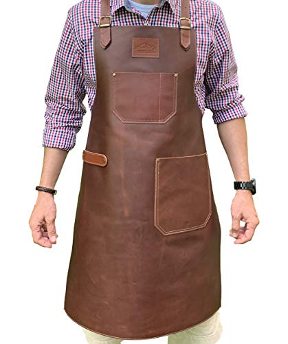Andean Leather Apron - Grill Apron, Bbq Apron, Woodworking Apron, Barber Apron, Welding Apron, Cross-Back Straps, Adjustable M to 2XL for Men and Women