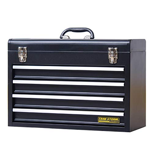 TANKSTORM Portable Steel Tool Chest with Drawers,20.6' 4-Drawer Box Storage Organizer Cabinet Metal...