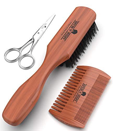 Beard Brush 100% Pure Firm Boar Bristles | Giveaway Dual Action Comb & Mustache Trimming Scissors Presented in Premium Gift Box | All Natural First-Cut Hard Hog Hair with Handle Pear-Wood.