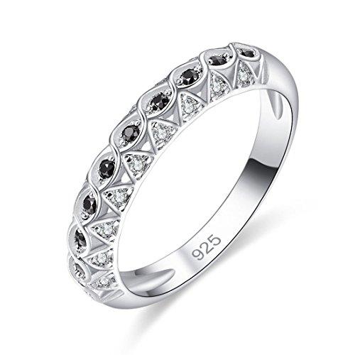 UltraSunday Circle Unisex Gifts Black Spinel & White Topaz Gemstone Silver Ring Size 6 7 8 9 (6)